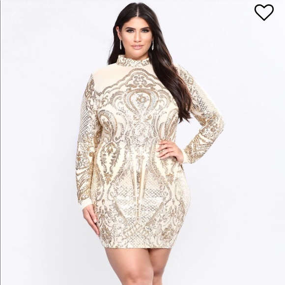 b6a5fbb1 Fashion Nova Dresses | Calcy Sequin Mesh Dress Gold | Poshmark